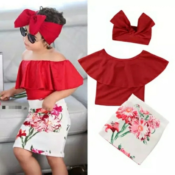 4ca58964bc071 Pudcoco Matching Sets | Girls Red Ruffle Top Floral Print Skirt ...